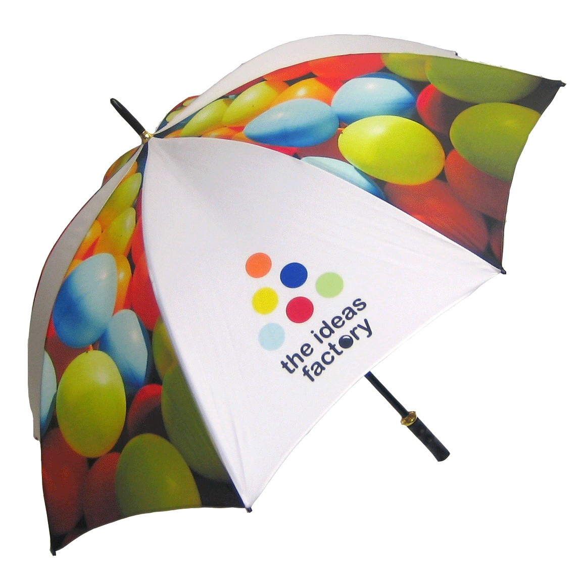 Printed Promotional Eclipse Black/Silver Umbrella